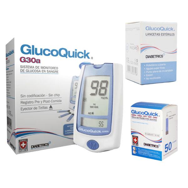 Combo Glucómetro GlucoQuick G30 + Caja de Tiras x50 + Lancetas x50