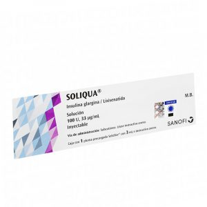 Soliqua (30-60) insulina glargina 100 u/ml - lixisenatida 33 ug/ml verde