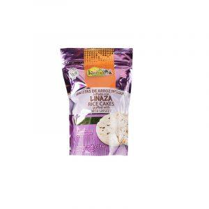 Galletas de arroz inflado sabor integral con linaza