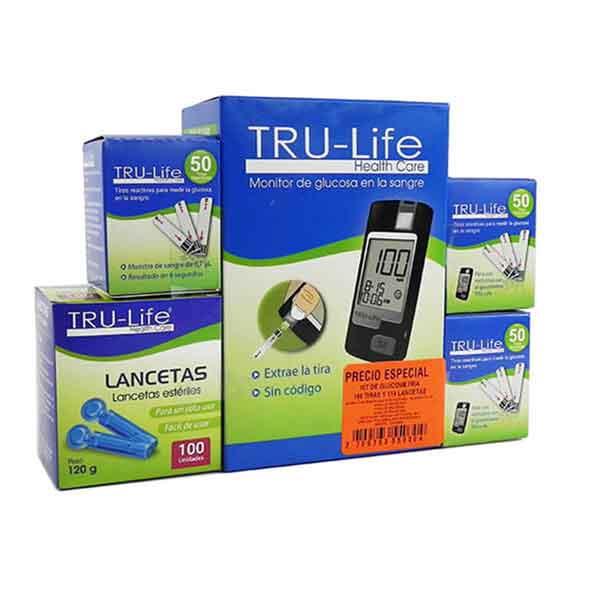 Glucometro TRU-LIFE 160 tiras+ 110 lancetas