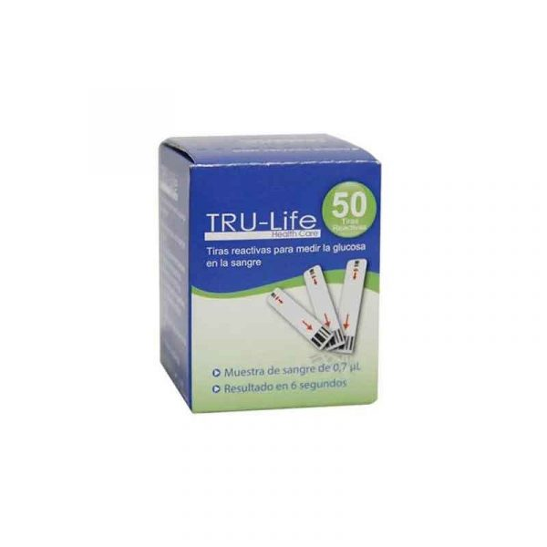 Tiras para glucometro TRU-LIFE CAJA * 50 UNIDADES